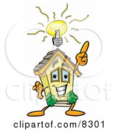 Clipart Picture Of A House Mascot Cartoon Character With A Bright Idea