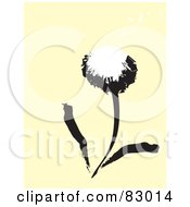 Black And White Painted Dandelion Over Beige