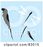 Royalty Free RF Clipart Illustration Of A Painted Black And White Dragonfly Over Black Reeds On Blue