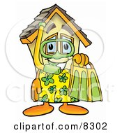 Clipart Picture Of A House Mascot Cartoon Character In Green And Yellow Snorkel Gear