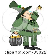 Royalty Free RF Clipart Illustration Of A St Patricks Day Leprechaun Inspecting A Gold Coin And Carrying A Pot Of Gold