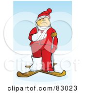 Royalty Free RF Clipart Illustration Of An Injured Skier With A Crutch Cast And Sling On Skis In The Snow