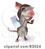 Royalty Free RF Clipart Illustration Of A 3d Mouse Character Holding Out His Cell Phone