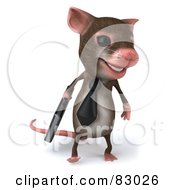 Royalty Free RF Clip Art Illustration Of A 3d Mouse Character Carrying A Briefcase And Facing Front by Julos