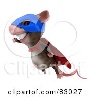 Royalty Free RF Clipart Illustration Of A 3d Mouse Character Super Hero Smiling In Flight