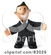 Royalty Free RF Clipart Illustration Of A 3d Business Toon Guy Holding His Arms Wide Open