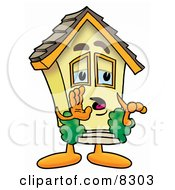 Clipart Picture Of A House Mascot Cartoon Character Whispering And Gossiping