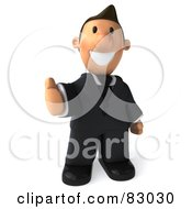 Royalty Free RF Clipart Illustration Of A 3d Business Toon Guy Holding His Thumb Up by Julos