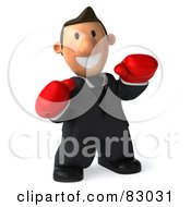 Royalty Free RF Clipart Illustration Of A 3d Business Toon Guy With Red Boxing Gloves by Julos