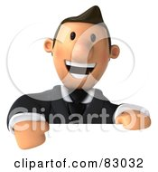 Royalty Free RF Clipart Illustration Of A 3d Business Toon Guy Looking Over A Blank Sign Board by Julos
