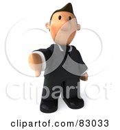 Royalty Free RF Clipart Illustration Of A 3d Business Toon Guy Holding His Thumb Down by Julos