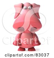 Royalty Free RF Clipart Illustration Of A 3d Pookie Pig Character Facing Front And Pouting