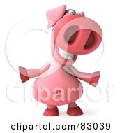 Royalty Free RF Clipart Illustration Of A 3d Pookie Pig Character Facing Front And Dancing by Julos