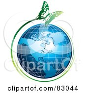 Royalty Free RF Clipart Illustration Of A Green Butterfly Flying Around An American Globe