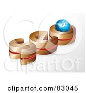 Royalty Free RF Clipart Illustration Of A 3d Gold And Red Seo With A Globe In The O by MilsiArt