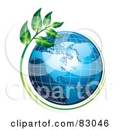 Royalty Free RF Clipart Illustration Of A Green Plant Growing Around An American Globe by MilsiArt