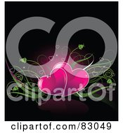 Royalty Free RF Clipart Illustration Of A Romantic Background Of Two Pink Heats With Green Plants Over Black