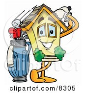 Clipart Picture Of A House Mascot Cartoon Character Swinging His Golf Club While Golfing