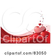 Royalty Free RF Clipart Illustration Of A White Background With A Bottom Border Of Red And Pink Waves Swirls And Red Hearts