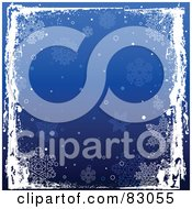 Royalty Free RF Clipart Illustration Of A White Grungy Frame Over A Blue Square Snowflake Background by Pushkin