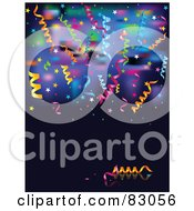 Royalty Free RF Clipart Illustration Of A Background Of Colorful Blurred Lights Ribbons And Star Confetti