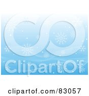 Royalty Free RF Clipart Illustration Of A Blue Background Of Falling Snowflakes And Mesh Waves