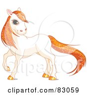 Royalty Free RF Clipart Illustration Of A Cute White Horse With Golden Hooves And Orange Sparkly Hair by Pushkin