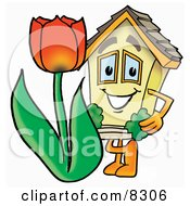 Clipart Picture Of A House Mascot Cartoon Character With A Red Tulip Flower In The Spring