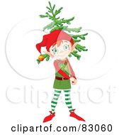 Royalty Free RF Clipart Illustration Of A Thoughtful Christmas Elf Smiling And Carrying A Christmas Tree by Pushkin