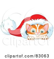 Royalty Free RF Clipart Illustration Of A Cute Ginger Kitten Peeking Out Of A Santa Hat
