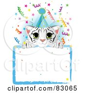Royalty Free RF Clipart Illustration Of A Adorable White Tiger Cub Wearing A Party Hat Looking Over A Blank Starry Sign With Colorful Confetti