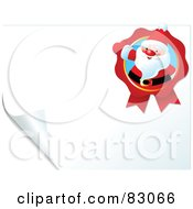 Royalty Free RF Clipart Illustration Of A Santa Ribbon On A Blank Turning Page