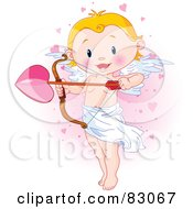 Cute Blond Cupid Standing And Holding A Giant Heart Arrow In A Pink Heart Cloud