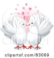 Pair Of Cute White Doves In Love Under Pink Hearts