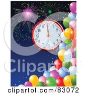 Royalty Free RF Clipart Illustration Of A New Year Clock At Midnight Over A Blue Sky With Fireworks And Colorful Party Balloons by Pushkin