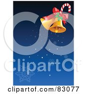 Royalty Free RF Clipart Illustration Of A Pair Of Golden Christmas Bells With Holly And A Candy Cane Ringing Snowflakes Down Over Blue by Pushkin