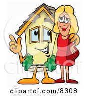 Clipart Picture Of A House Mascot Cartoon Character Talking To A Pretty Blond Woman