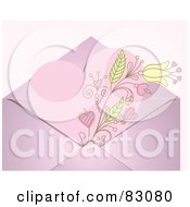 Royalty Free RF Clipart Illustration Of A Pink Floral Heart Valentine In An Envelope Over A Pastel Pink Background by Pushkin