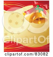 Pair Of Golden Christmas Bells With Holly And A Bow Over A Golden And Red Background Of Snowflakes