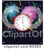 Royalty Free RF Clipart Illustration Of A New Year Clock At Midnight Surrounded By Colorful Fireworks And Confetti Over Navy Blue by Pushkin