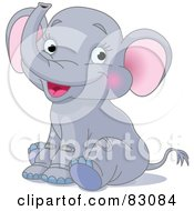 Royalty Free RF Clipart Illustration Of A Cute Baby Elephant With Pink Ears And Blushing Cheeks by Pushkin
