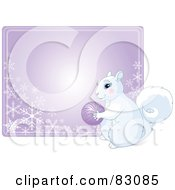Royalty Free RF Clipart Illustration Of A Cute White Squirrel Holding An Ornament In Front Of A Purple Snowflake Sign