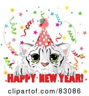 Royalty Free RF Clipart Illustration Of A Cute White Tiger Cub Wearing A Party Hat And Looking Over A Happy New Year Greeting With Confetti by Pushkin