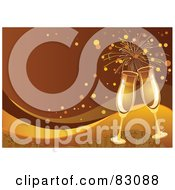 Royalty Free RF Clipart Illustration Of A Toasting Golden Champagne Flutes Over A Gold And Brown Swoosh Background With Fireworks