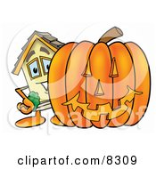 Clipart Picture Of A House Mascot Cartoon Character With A Carved Halloween Pumpkin