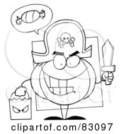 Royalty Free RF Clipart Illustration Of An Outlined Pirate Pumpkin by Hit Toon