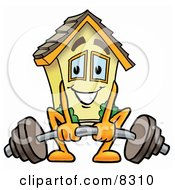 Clipart Picture Of A House Mascot Cartoon Character Lifting A Heavy Barbell