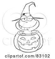 Royalty Free RF Clipart Illustration Of An Outlined Frog In Pumpkin