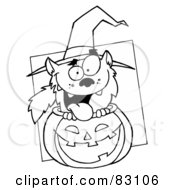Royalty Free RF Clipart Illustration Of An Outlined Werewolf In Pumpkin