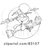 Royalty Free RF Clipart Illustration Of An Outlined Friendly Flying Witch